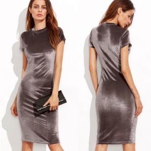 NEW Silver Velour Zara Mock Neck Bodycon Dress
